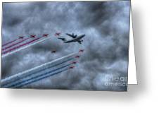 Red Arrows And A400m Airbus Greeting Card