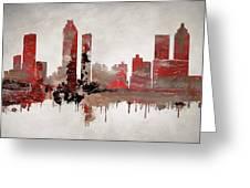 Red Atlanta Georgia Skyline Greeting Card
