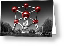 Red Atomium Greeting Card