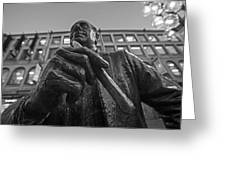 Red Auerbach Chilling At Fanueil Hall Black And White Greeting Card