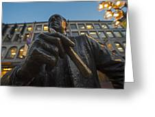 Red Auerbach Chilling At Fanueil Hall Greeting Card