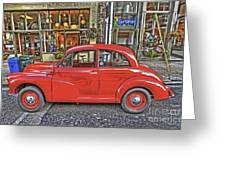 Red Morris Minor Greeting Card