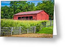 Red Barn Along The Fence Greeting Card