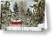 Red Barn At Christmas Greeting Card