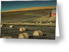 Red Barn At Haying Time Greeting Card