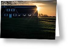 Red Barn At Sunset Greeting Card