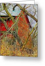Red Barn Behind The Trees Greeting Card