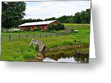 Red Barn By The Lake Greeting Card