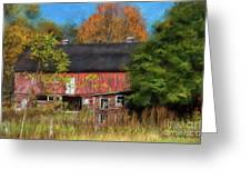 Red Barn In October Greeting Card