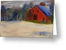 Red Barn In Snow  Greeting Card by Steve Jorde