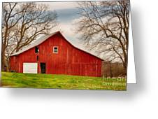 Red Barn In The Blue Sky Greeting Card