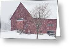 Red Barn Nor'easter  Greeting Card