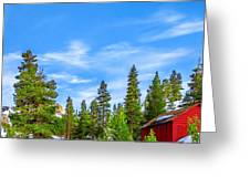 Red Barn On A Hill Greeting Card