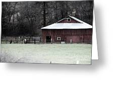 Red Barn On The Drive Greeting Card