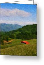 Red Barn On The Mountain Greeting Card