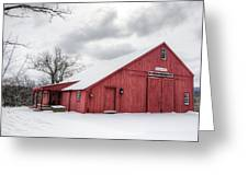 Red Barn On Wintry Day Greeting Card