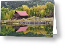 Red Barn Reflections Greeting Card