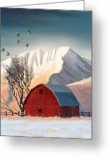 Red Barn Snow Western - Countryside Painting Greeting Card