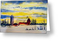 Red Barn Sunrise Greeting Card