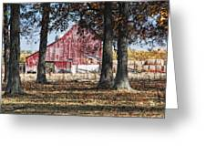 Red Barn Through The Trees Greeting Card