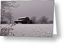 Red Barn Under Snow Greeting Card