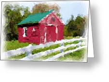 Red Barn Vermont Watercolor Greeting Card