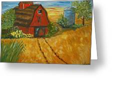Red Barn- Wheat Field- Down Home Greeting Card
