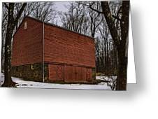 Red Barn White Snow 2 Greeting Card
