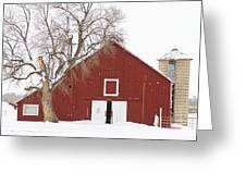 Red Barn Winter Country Landscape Greeting Card by James BO  Insogna