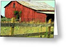 Red Barn With Vines Greeting Card