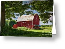 Red Barn With White Arched Door Trim Greeting Card