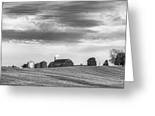 Red Barns Bw Greeting Card