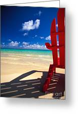 Red Beach Chair Greeting Card
