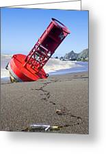Red Bell Buoy On Beach With Bottle Greeting Card