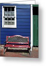 Red Bench Blue House Greeting Card