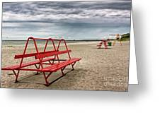Red Bench On A Beach Greeting Card