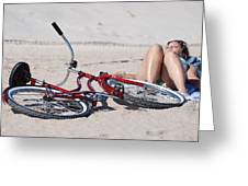 Red Bike On The Beach Greeting Card
