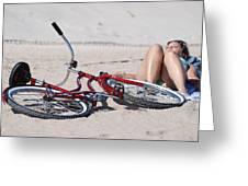 Red Bike On The Beach Greeting Card