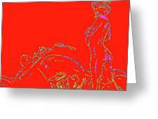 Red Biker Biatch Ps Greeting Card