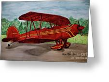 Red Biplane Greeting Card by Megan Cohen
