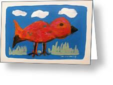 Red Bird In Grass Greeting Card