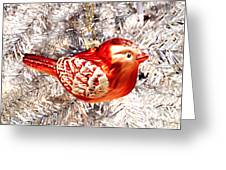Red Bird White Tree Greeting Card