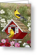 Red Birdhouse And Goldfinches Greeting Card by Crista Forest