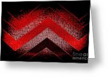 Red Black Chevron Greeting Card