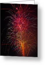 Red Blazing Fireworks Greeting Card