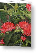 Red Blooms On The Parkway Greeting Card
