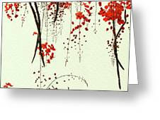 Red Blossom Tree On Handmade Paper Greeting Card