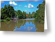 Red Boat And The Magnolia River Greeting Card
