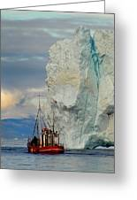 Red Boat Blue Ice Greeting Card