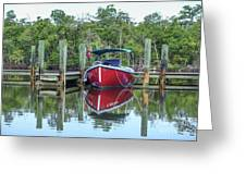 Red Boat Docked Florida Greeting Card